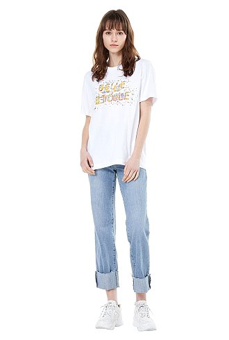 그래픽 스팽글 장식 반팔 티셔츠