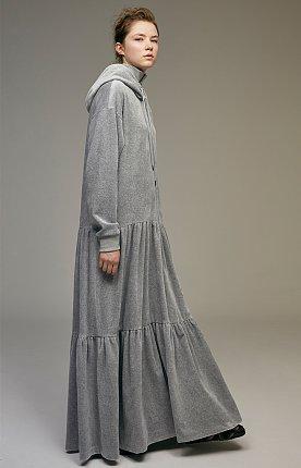 High neck hooded velvet maxi dress