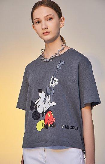 [V MICKEY] 미키 그래픽 크롭 티셔츠
