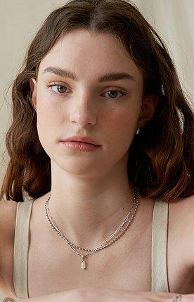 Bonbon Gemstone Pendant Necklace_SILVER/WHITE