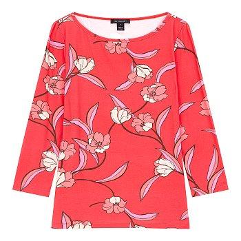 플라워 패턴 7부 티셔츠
