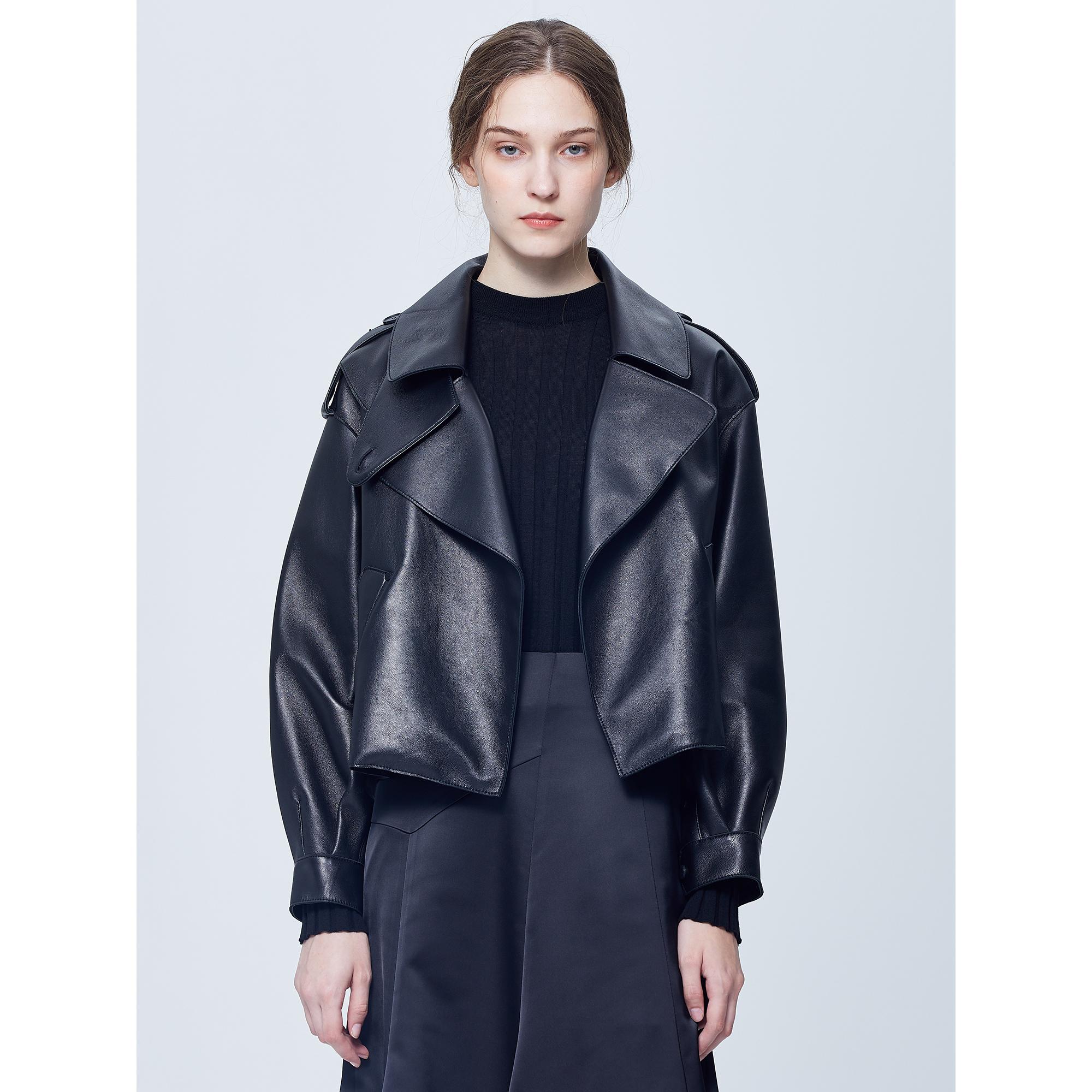 스튜디오 톰보이 가죽 재킷 가을 재킷 숏 트렌치 트렌치코트 가죽 아우터