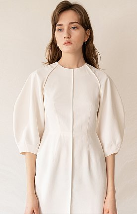 FW19 Cocoon Sleeve Dress White