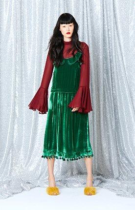 Belleza Velvet Dress(GREEN)