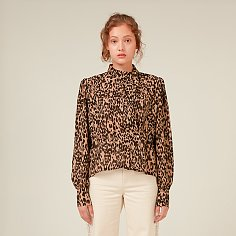 LEOPARD UNBALANCED COLLAR BLOUSE