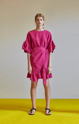 Ruffle-trimmed linen wrap dress