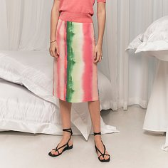 Watercolor gradation stripe-printed midi skirt