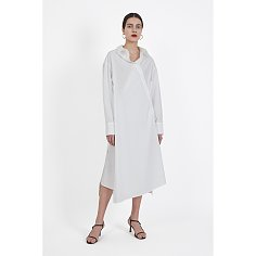White overlapped shirt dress