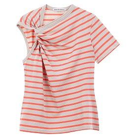 [alexanderwang.t]언발란스 슬리브 스트라이프 티셔츠