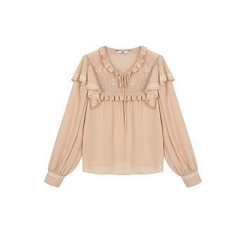 V-NECK LACE BLOUSE - BEIGE