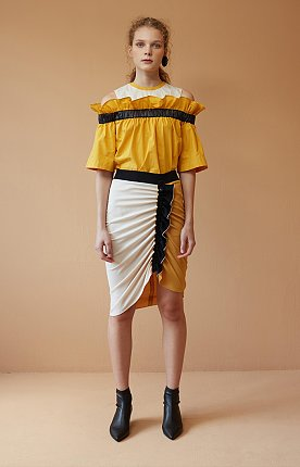 Black Ruffled Yellow Skirt