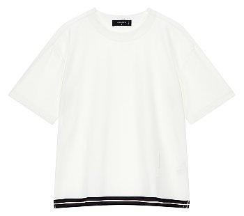 [ESSENTIAL] 밑단배색 오버사이즈 반소매 티셔츠