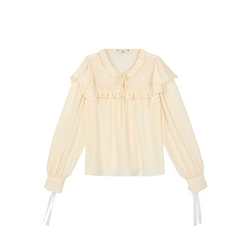 V-NECK LACE BLOUSE - IVORY