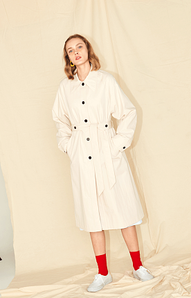 BIG COLLAR TRENCH - IVORY