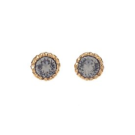Lover Circle Crystal Earrings_GOLD_BLACK