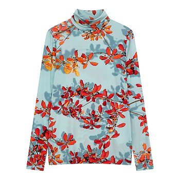 플라워 패턴 터틀넥 티셔츠