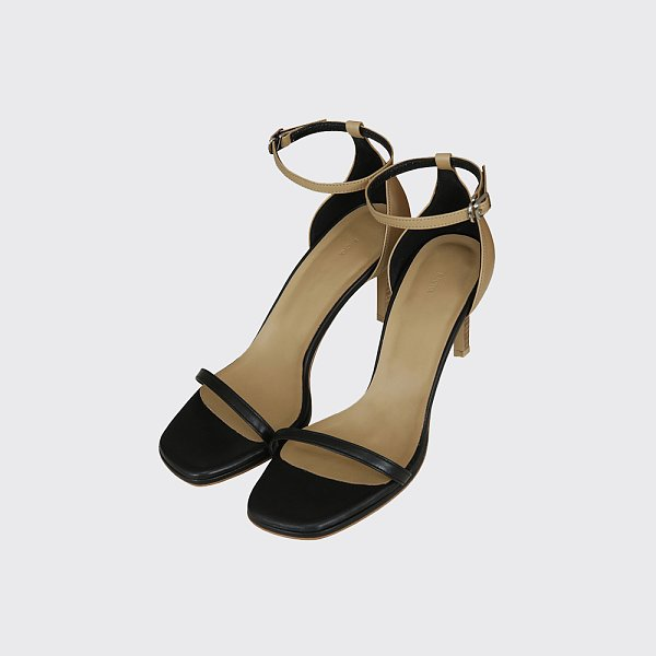 ANKLE STRAP SANDALS (BLACK/BEIGE)