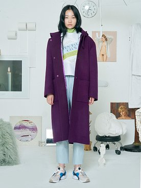Hoodie Wool Coat [PURPLE]