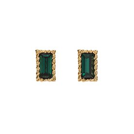 Lover Square Crystal Earrings_GOLD_GREEN