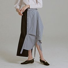19SS ASYMMETRIC SHIRT-DETAILED SKIRT (NAVY STRIPE)