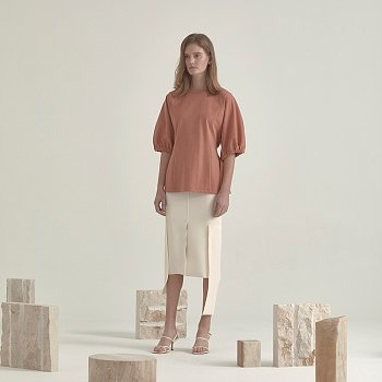 Iero Belted Point Cotton Top_Coral
