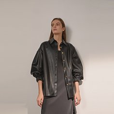 DEMERE LEATHER OUTER SHIRT (BLACK)