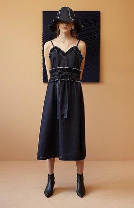 Denim Midi Dress with Ruffle