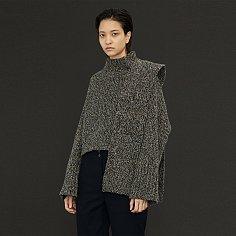 Lucia Shaded Knit & Muffler Set _Multi Navy