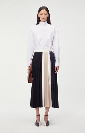 PLEATED COLORBLOCK WRAP SKIRT (BLACK/BEIGE)