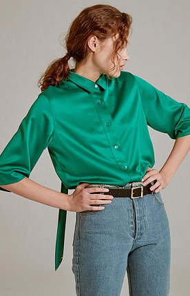 19SS DETACHABLE TIE-NECK BLOUSE (GREEN)