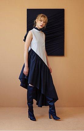 Sky Blue Stripe and Navy Cotton Ruffled Dress