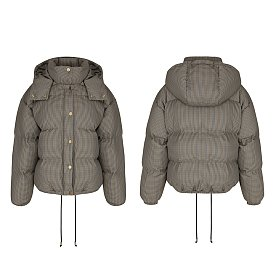 19FW DETACHABLE HOOD DOWN JACKET (BROWN CHECK)