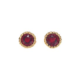 Lover Circle Crystal Earrings_GOLD_RED