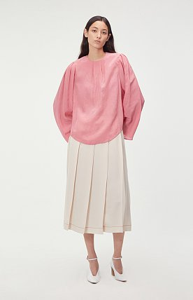 CONTRAST STITCH PLEATED SKIRT (NUDE)