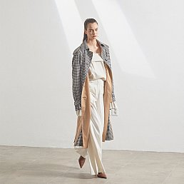 Bruxelle oversized trench coat_ Gingham check