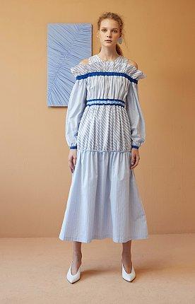 Sky blue Stripe Cold-Shoulder Midi Dress