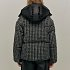 Hooded quilted tweed shell down jacket
