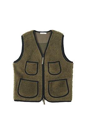 No Collar Inner Fleece Vest Olive 버거스 플러스 노카라 플리스 베스트