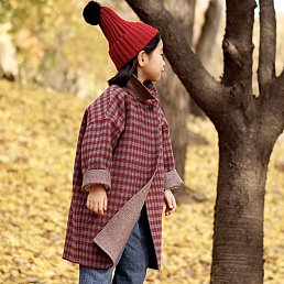 Veg River handmade Check Coat[Red]