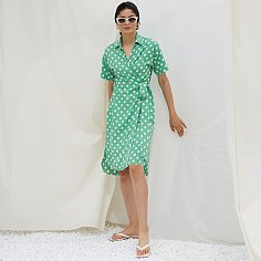 TANYA WRAP DRESS, GREEN