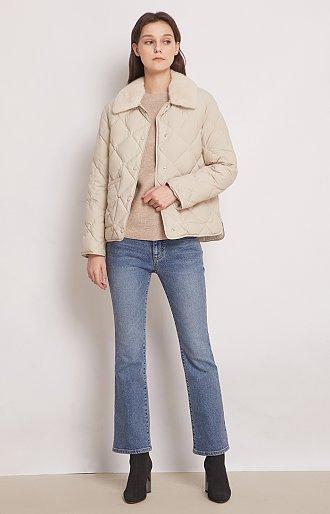 밍크 카라 구스다운 퀼팅 자켓