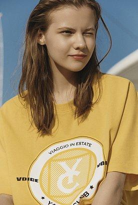 [VOV X VESPA]텍스처드 서클 그래픽 반팔 티셔츠