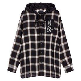 캐주얼 체크 패턴 후드 셔츠