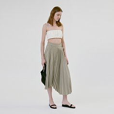 ASYMMETRIC PLEATED SKIRT (LIGHT KHAKI)