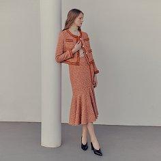 Blanc tweed mermaid skirt_Orange