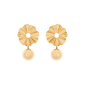 Joli Flare And Ball Earrings_GOLD
