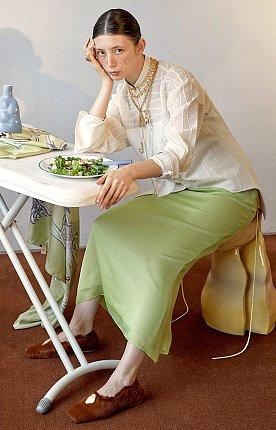 Rosto Layered Skirt_Light Green