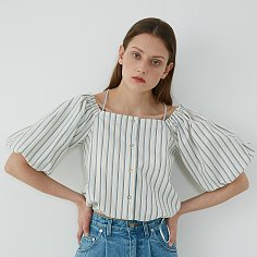 OFF-SHOULDER BLOUSE - BLUE