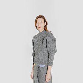 CABLE KNIT WOOL SWEATER (GREY)