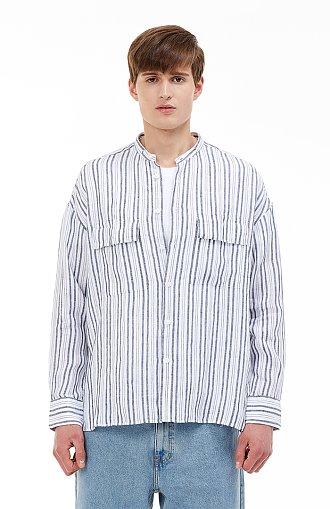 [COOL] 프렌치린넨 긴팔 오버핏 스트라이프 셔츠